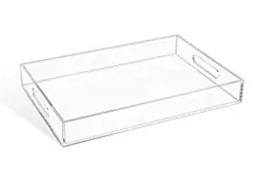 Clear Sturdy Acrylic Serving Tray with Handles