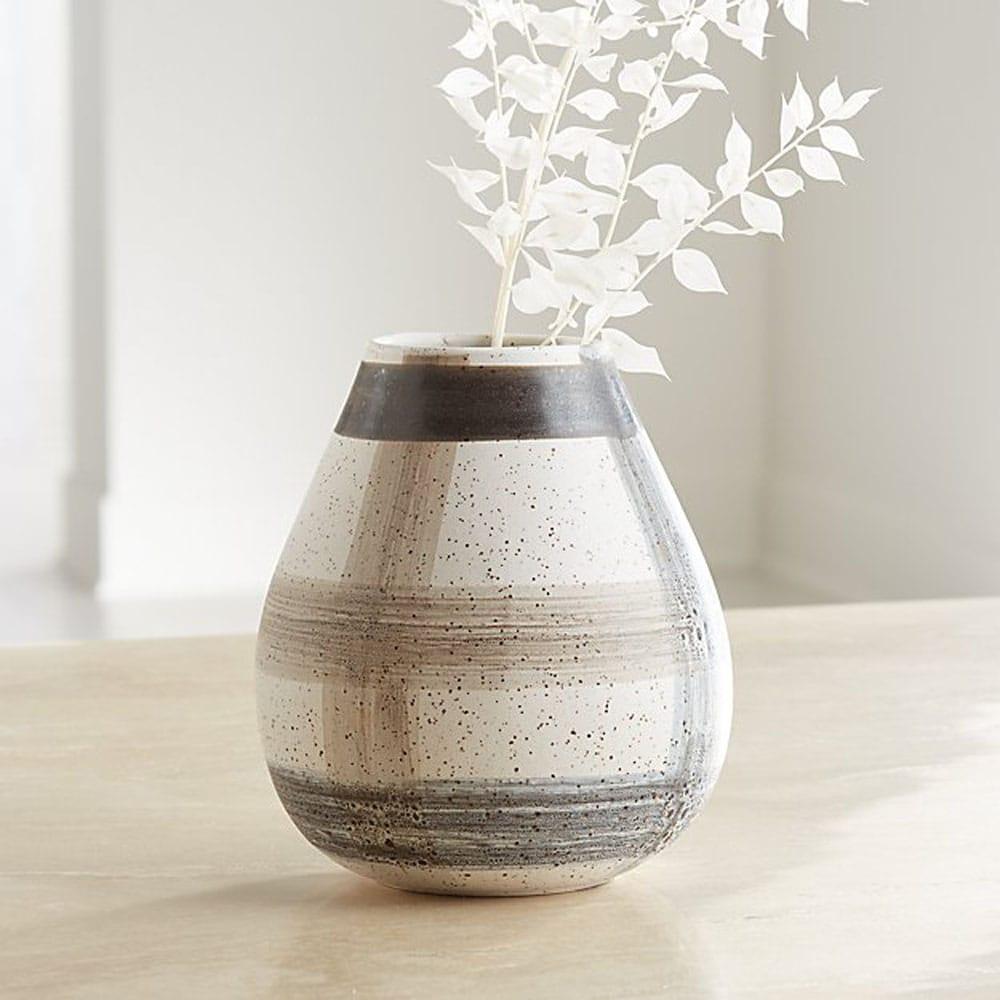 Darcy Grey Plaid Vase