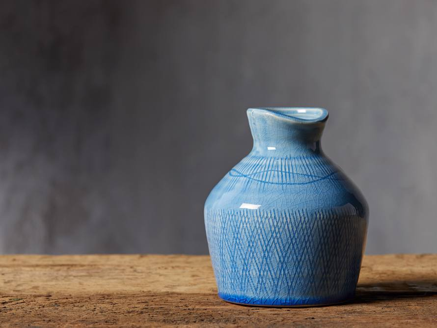 Sky Blue Crosshatch Vase