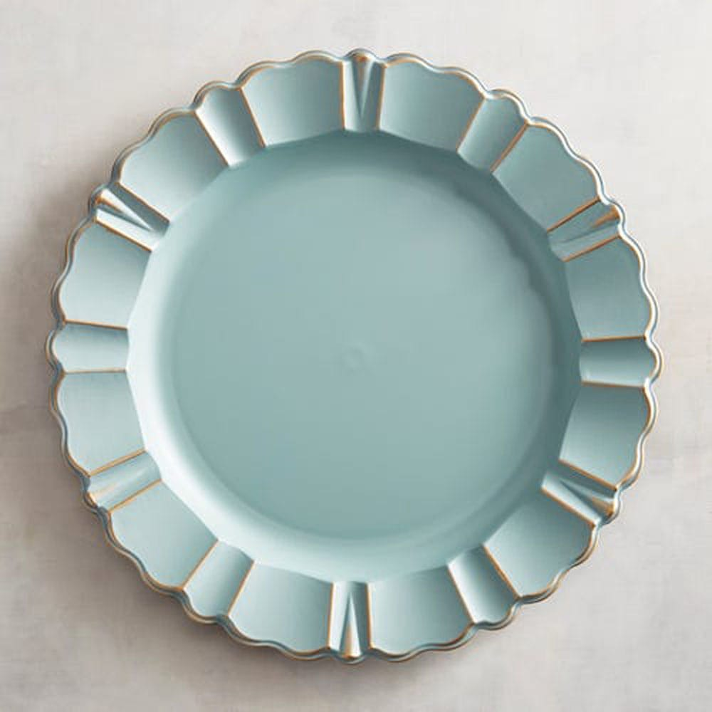 Blue Shell Charger Plate with Golden Detail