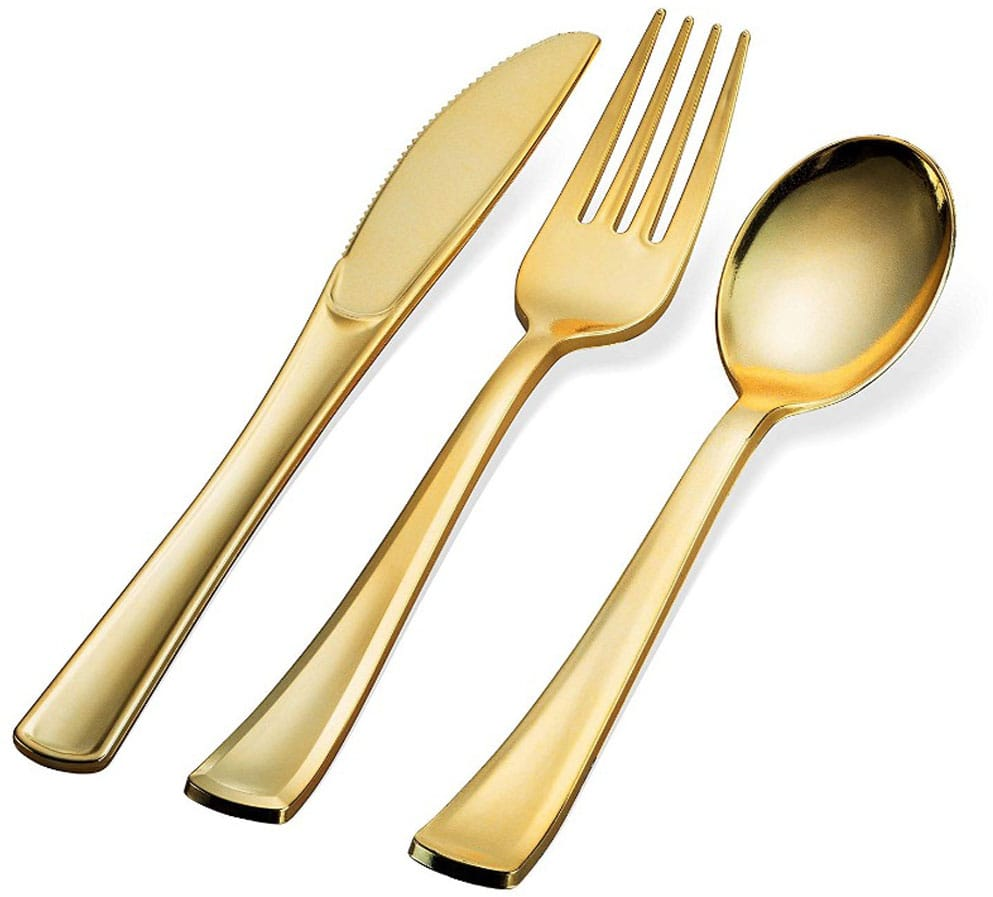 300 Gold Plastic Silverware Set