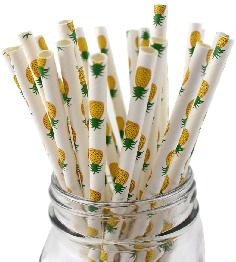 IPALMAY Pineapple Patterned Drinking Paper Straws