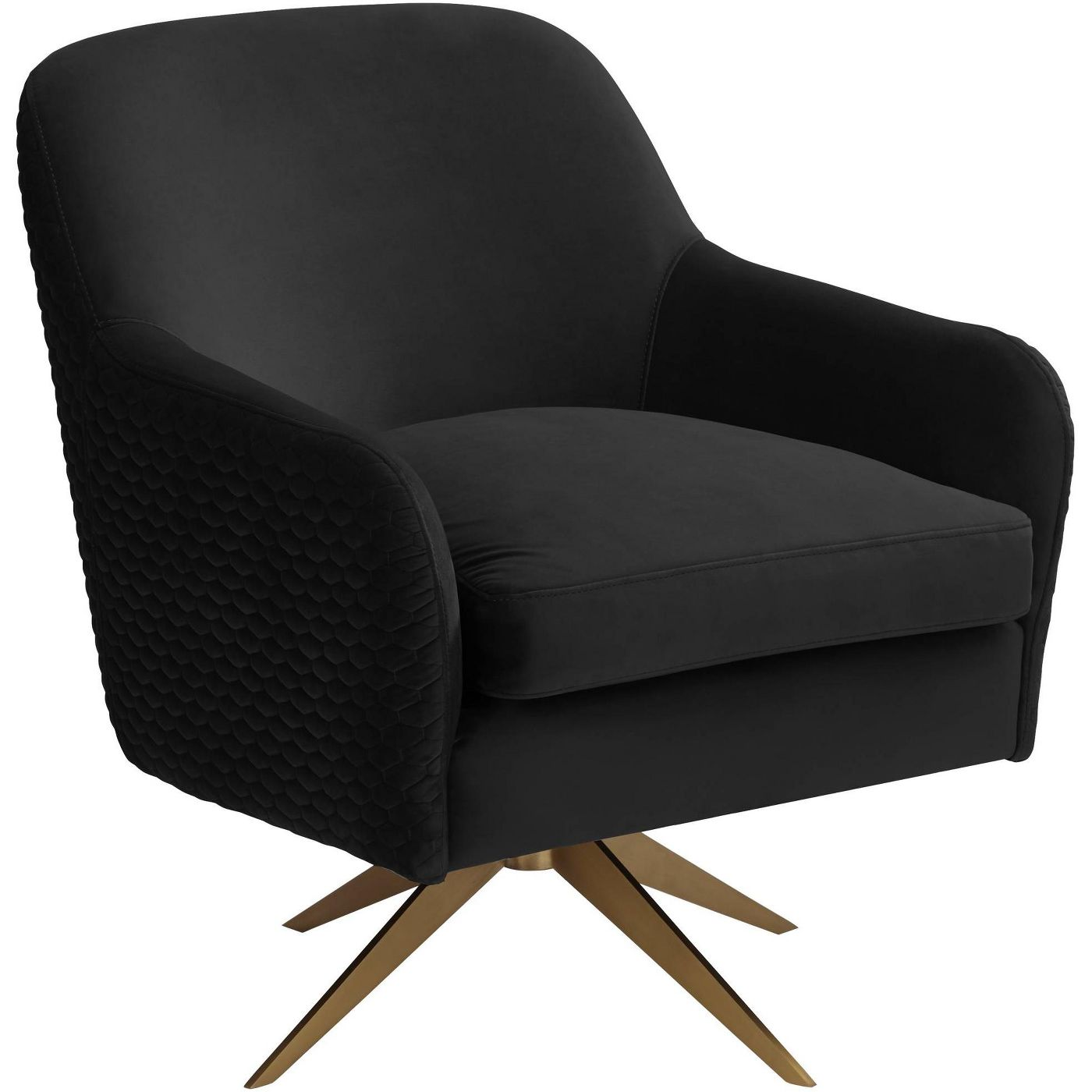 Studio 55D Ames Quilted Onyx Velvet Swivel Chair