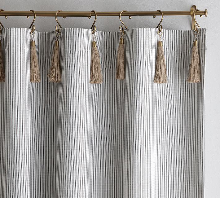 The Emily & Meritt Ticking Stripe Curtain With Hook And Tassel