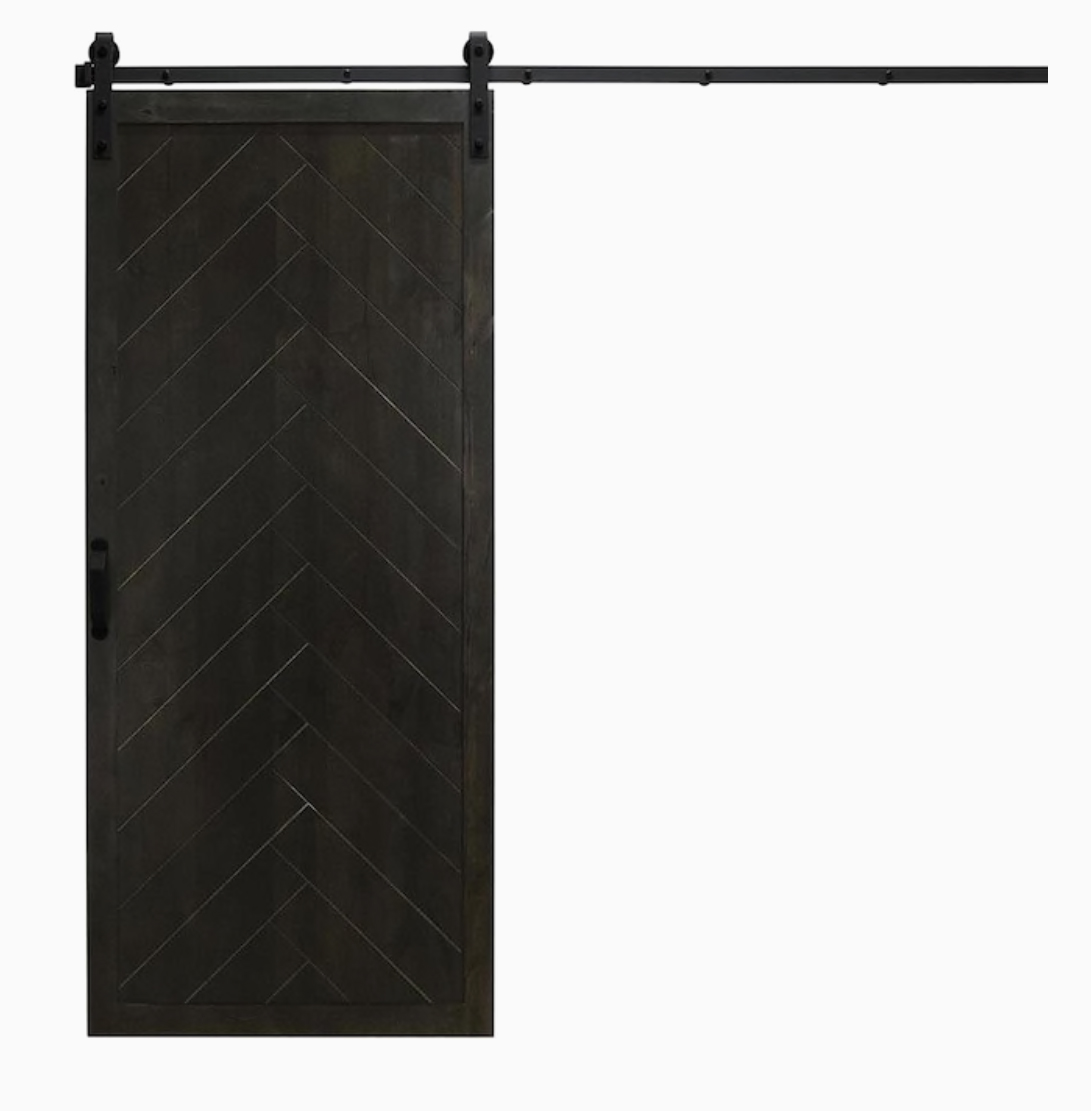 Dogberry Herringbone 36-in x 84-in Midnight Black 1-Panel Stained Knotty Alder Wood Single Barn Door