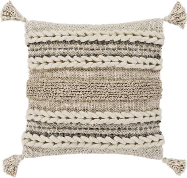 Textural 30 x 30 Beige Tassel Woven Wool Stripe Oversized Pillow + Down Insert