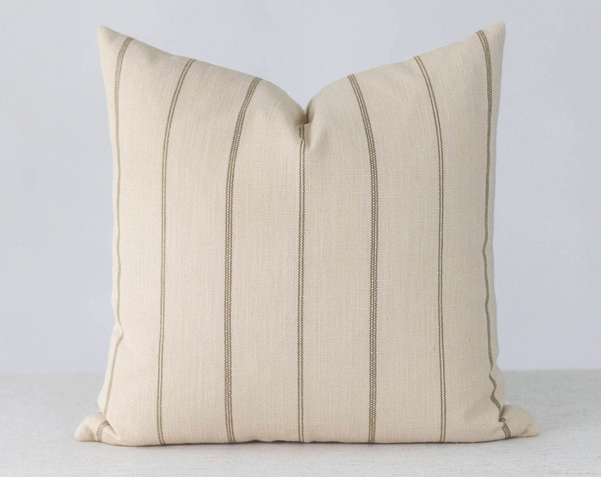 Cream and brown Stripe Pillow