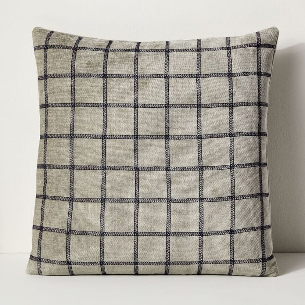 Grid Recycled Fabric Pillow Cover - Gray