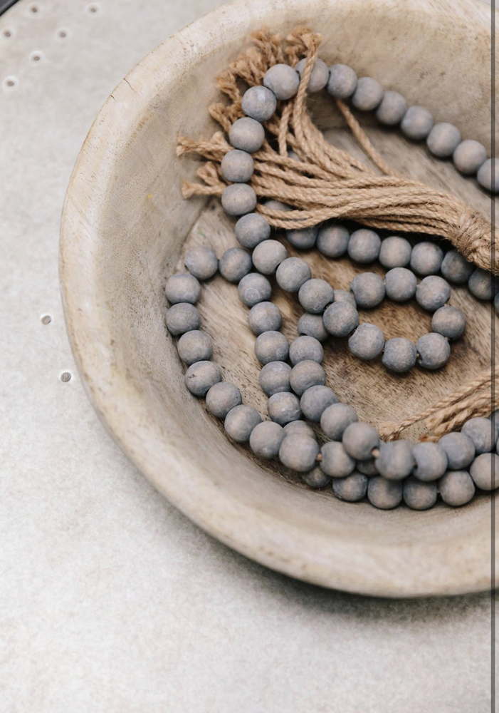 Gray Beads with Jute Tassel
