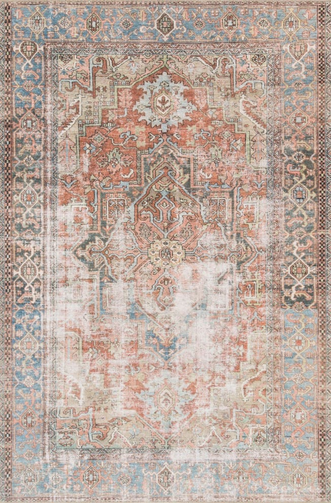 Loloi Loren Terracotta and Sky Rectangular: 5 Ft. x 7 Ft. 6 In. Rug