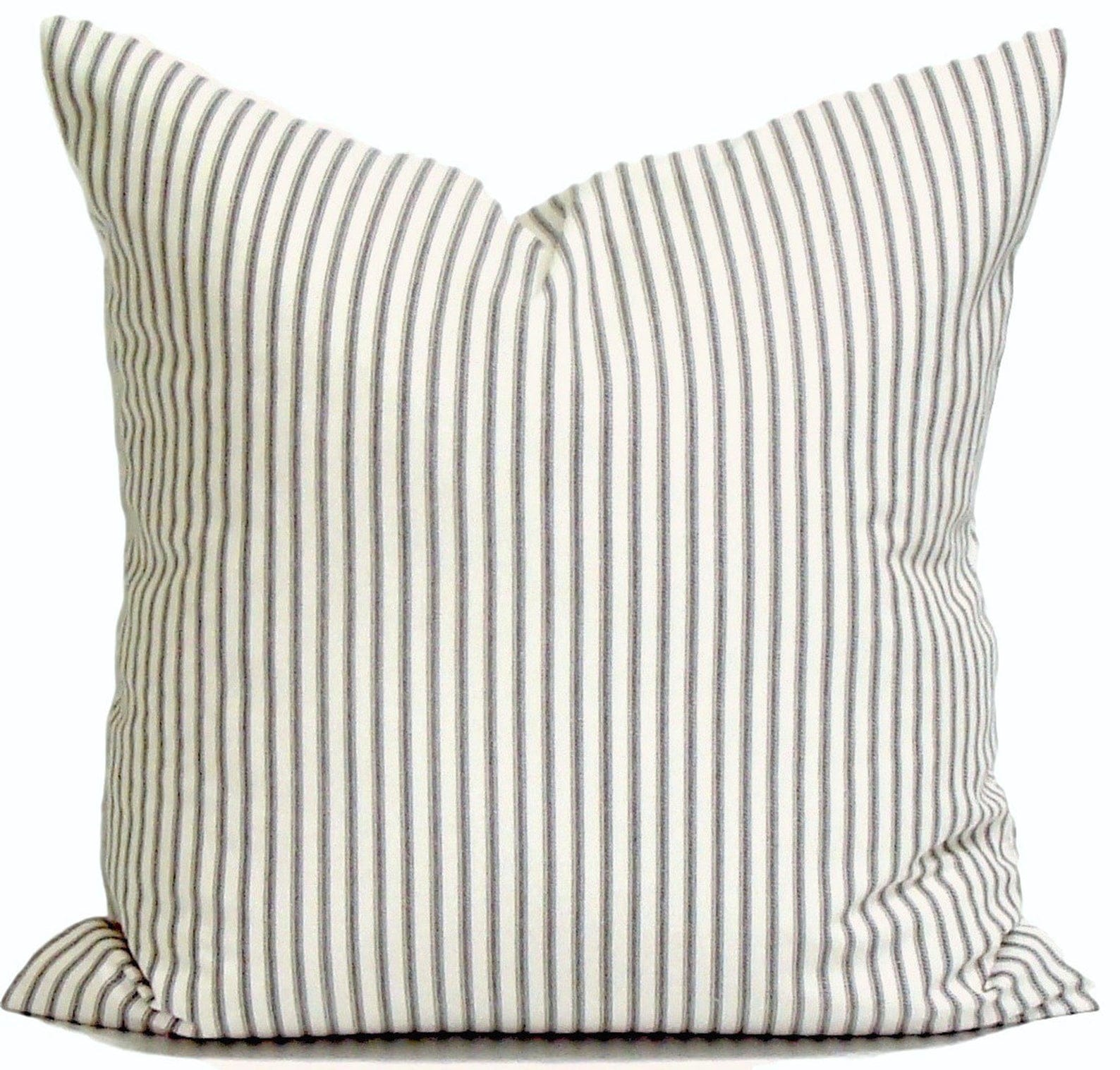 Ticking Stripe Pillow, Farmhouse Decor, Farmhouse Pillow, Ticking Pillow Cover, Charcoal Throw Pillow Cover