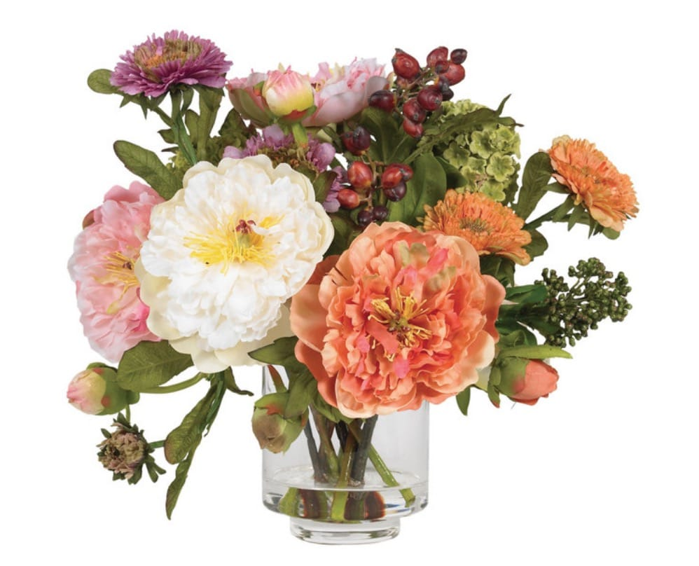 Nearly Natural 4689 Peony Silk Arrangement, Assorted
