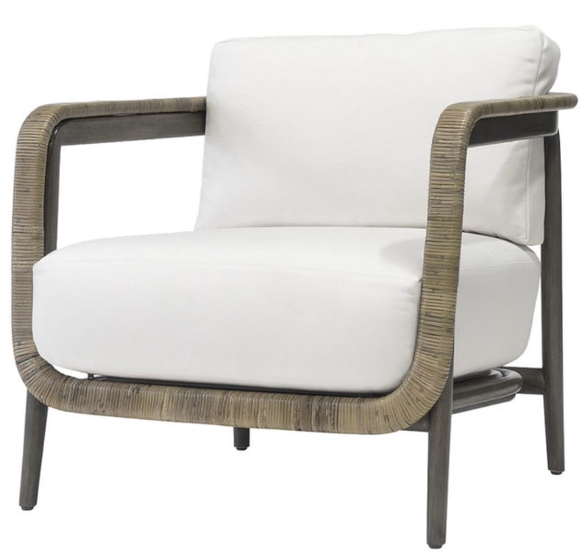 Palecek Duvall Coastal Beach Hardwood Frame linen Bisque Fabric Lounge Chair