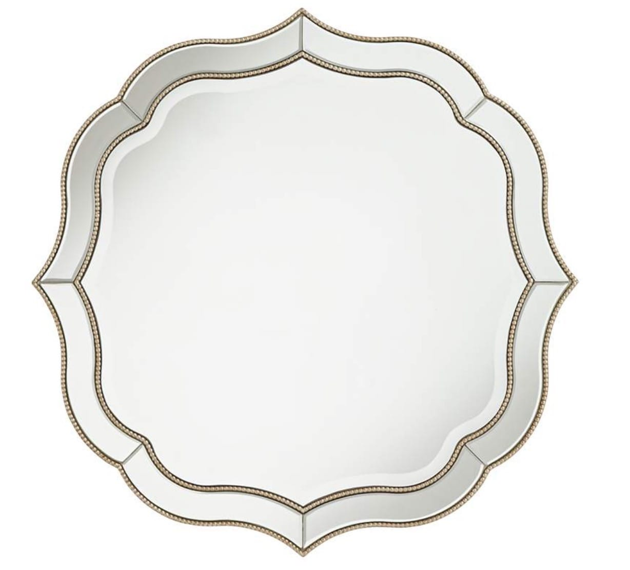 Laureen Champagne 32 Scalloped Round Wall Mirror