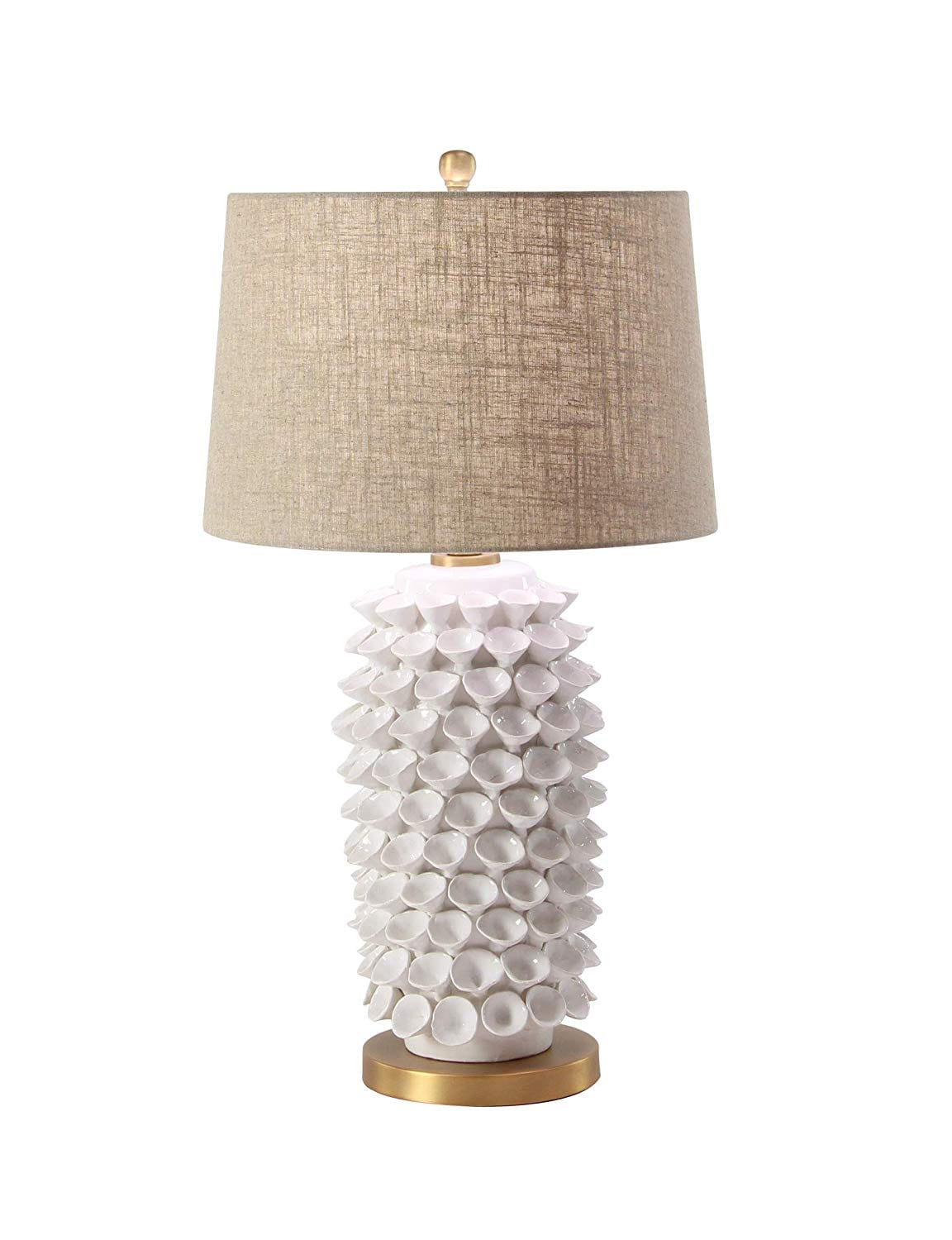 Deco 79 Table Lamps, Large, Tan, White, Black